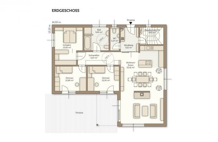 wolf bungalow das fertigteilhaus f r barrierefreies wohnen. Black Bedroom Furniture Sets. Home Design Ideas