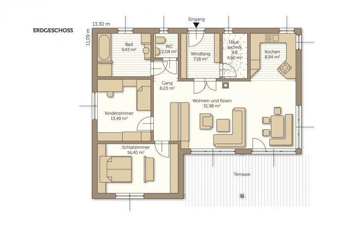 Fertigteilhaus bungalow grundriss  Bungalow - Fertighaus, Fertigteilhaus, WOLF Haus, Musterhaus
