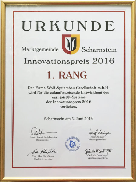 WOLF Systembau - News - Innovationspreis